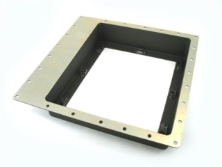 Structural Aerospace Housing - A structural 5 axis aerospace part. The hole pattern on the top edge is normal to the surface which has a complex curvature to it